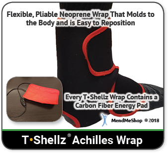 MendMeShop Achilles TShellz Wrap for elasticity of Achilles tendon collagen fibres.
