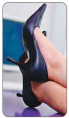High heels can add pressure on the retrocalcaneal bursa and Achilles tendon causing Haglund's Syndrome.
